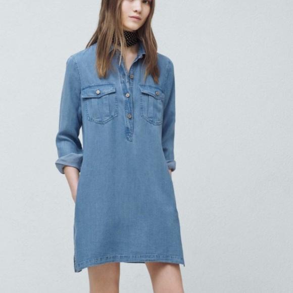 Mango Dresses & Skirts - Mango Denim 1/2 button Down Dress - SZ XS